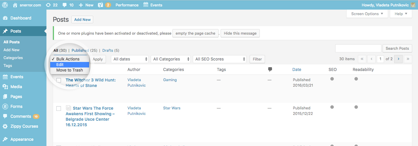 wordpress bulk update posts