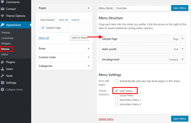 Gridlove Main Menu Navigation Setup Wordpress