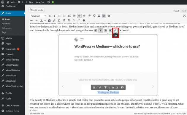 How to insert image alt text in WordPress step one explanation