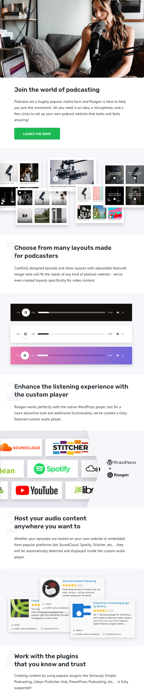 Roogan - Personal Podcast WordPress Theme