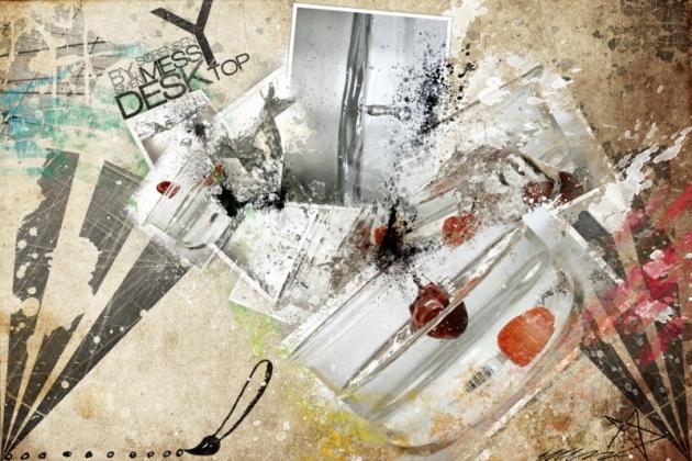 messy desktop design free fall wallpapers