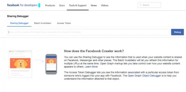 printscreen of a facebook debugger tool